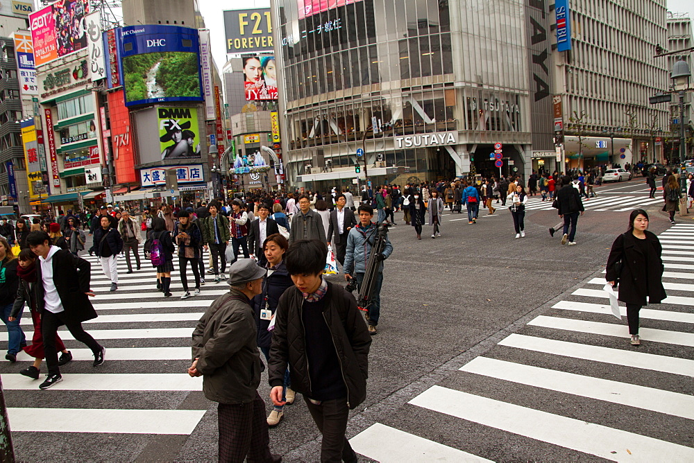 Shibuya crossing, the worlds busiest intersection, Tokyo, Japan, Asia