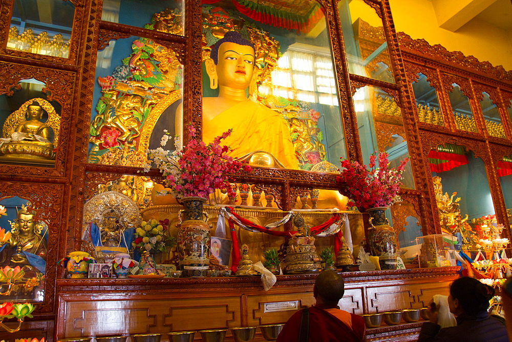 Buddha of the Karmapa temple, the Gyuto Tantric Monastery, Dharamsala, India