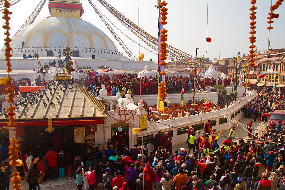 Tibetan Buddhist devotees at Boudhanath Stupa, UNESCO World Heritage Site, Kathmandu, Nepal, Asia - 1262-139