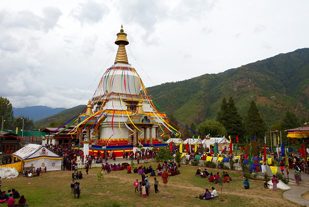 The Memorial Stupa of Bhutan's capital city of Thimphu, Bhutan, Asia