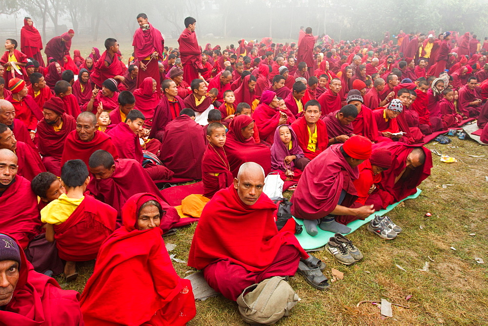 Buddhist monks of the Great Sakya Monlam prayer meeting at Buddha's birthplace, Lumbini, Nepal, Asia - 1262-186