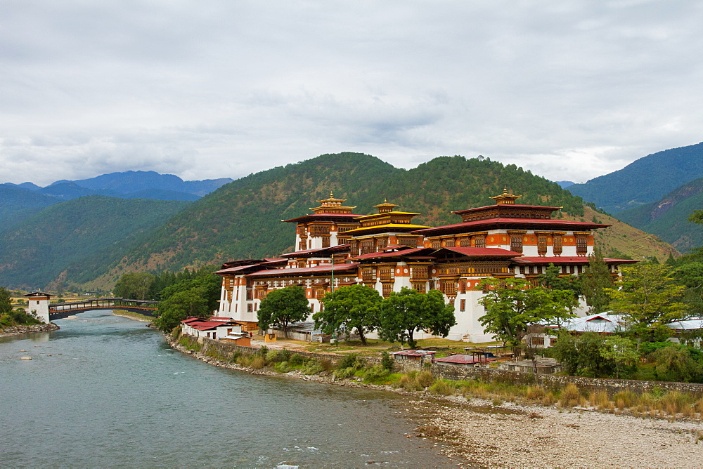 The Punakha Fortress, Paro, Bhutan, Asia