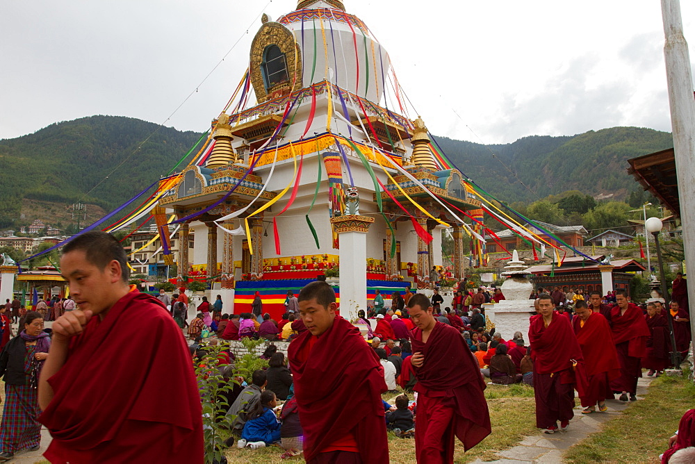 The Memorial Stupa and Buddhist devotees, Thimphu, Bhutan, Asia