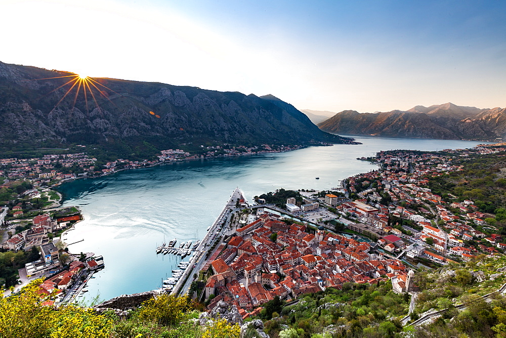 Looking over the old town of Kotor and across the Bay of Kotor viewed from the fortress at sunset, UNESCO World Heritage Site, Montenegro, Europe - 1263-11