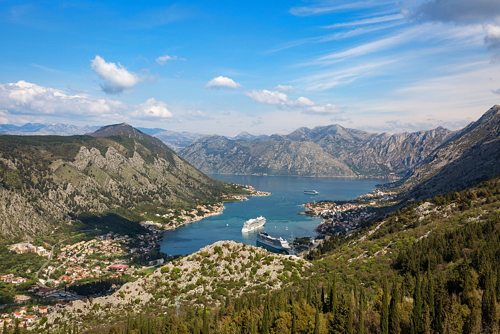 Cruise ships in the Bay of Kotor, UNESCO World Heritage Site, Montenegro, Europe - 1263-24