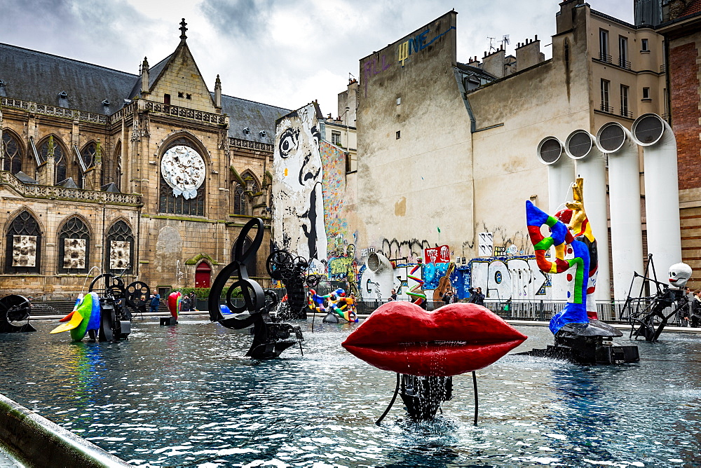 The Stravinsky Fountain on Place Igor Stravinsky next to the Centre Pompidou in the historical Beaubourg district, Paris, France