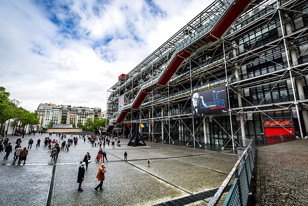 Centre Pompidou (Pompidou Centre) building in the Beaubourg area of the 4th arrondissement of Paris, France
