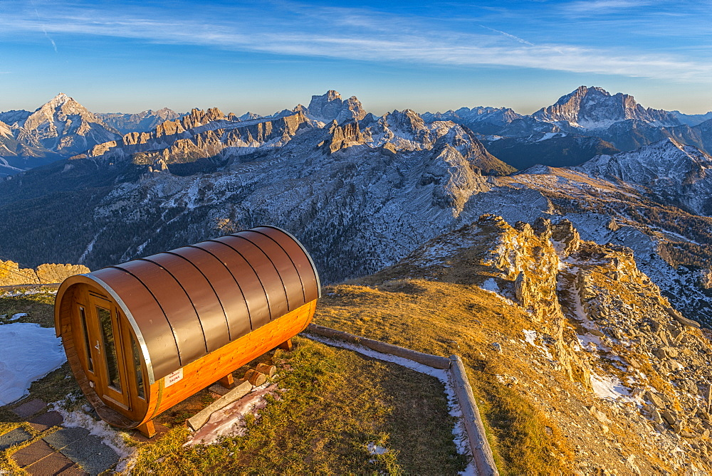 Antelao, Pelmo and Civetta at sunset from Lagazuoi mountain hut, Dolomites, Veneto, Italy, Europe - 1264-133