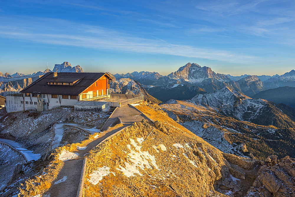 Lagazuoi mountain hut at sunset, Dolomites, Veneto, Italy, Europe - 1264-134