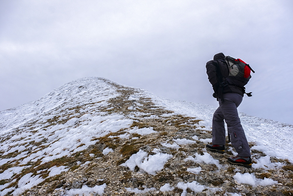 Hiker on Monte Catria in winter, Apennines, Umbria, Italy, Europe