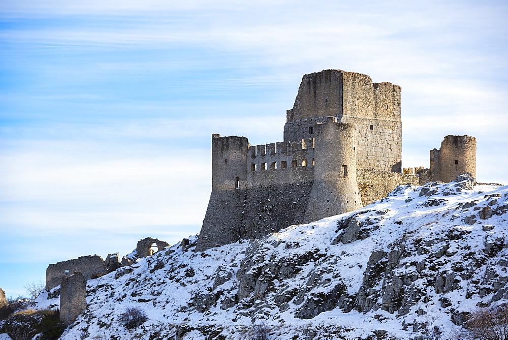 Rocca Calascio Castle and Santa Maria della Pieta?Church, Gran Sasso e Monti della Laga National Park, Abruzzo, Italy, Europe - 1264-176