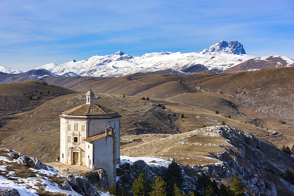 Santa Maria della Pieta church and Corno Grande in winter, Gran Sasso e Monti della Laga National Park, Abruzzo, Italy, Europe - 1264-178