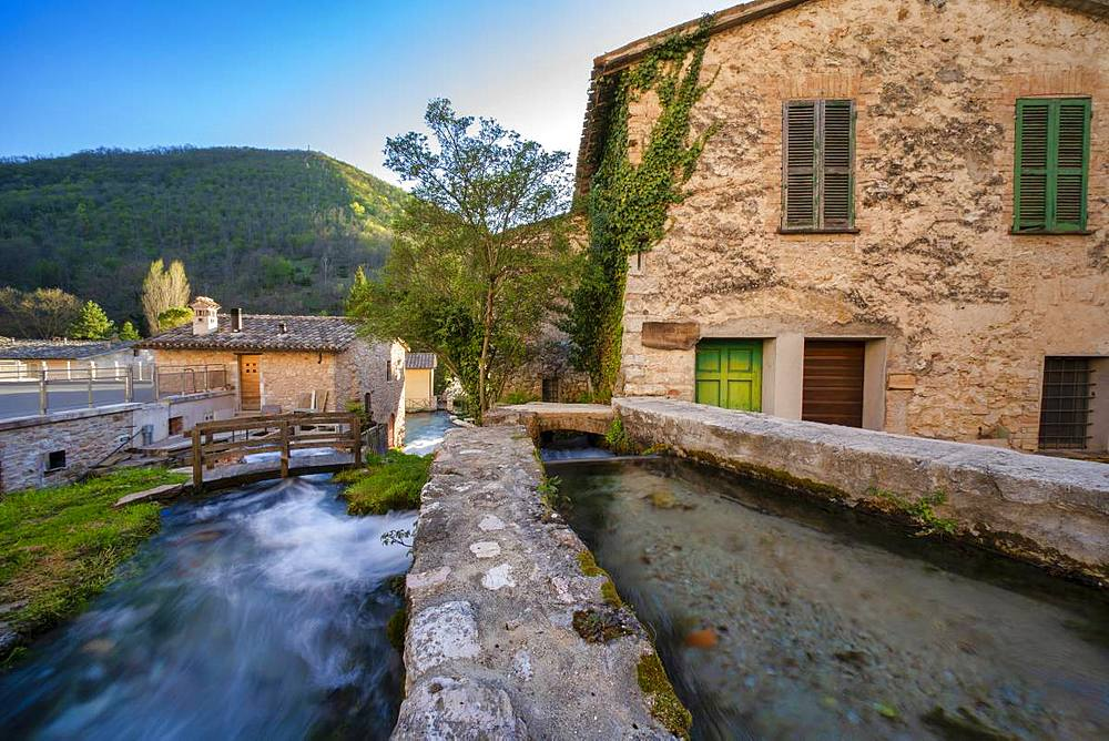 Small town in the Apennines in spring, Rasiglia, Umbria, Italy, Europe