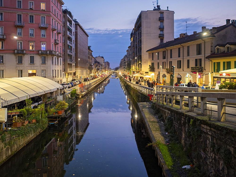 Porta Nuova, Navigli, Naviglio Grande at dusk, Milan, Lombardy, Italy, Europe