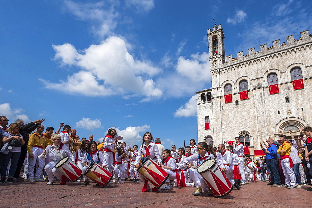 Band in Signoria Square (Piazza Grande) during Ceri Festival, Gubbio, Umbria, Italy, Europe - 1264-58