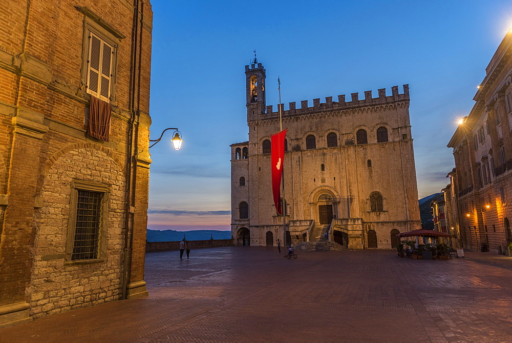 Consoli's Palace after sunset, Gubbio, Umbria, Italy, Europe - 1264-64