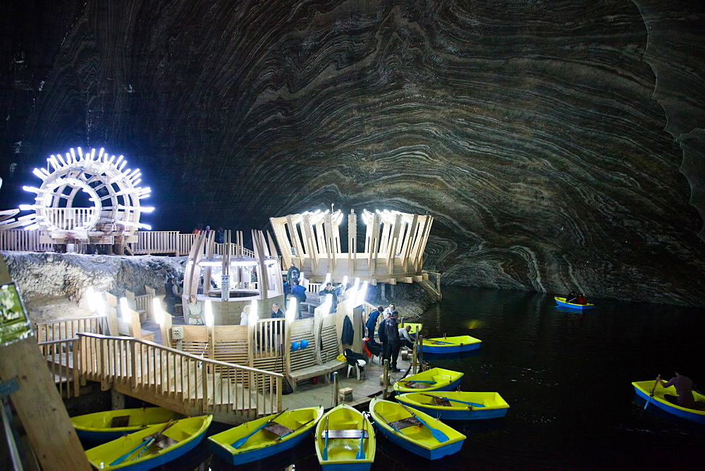 Underground lake in the Salt Mine, Salina Turda museum in Transylvania, Romania, Europe