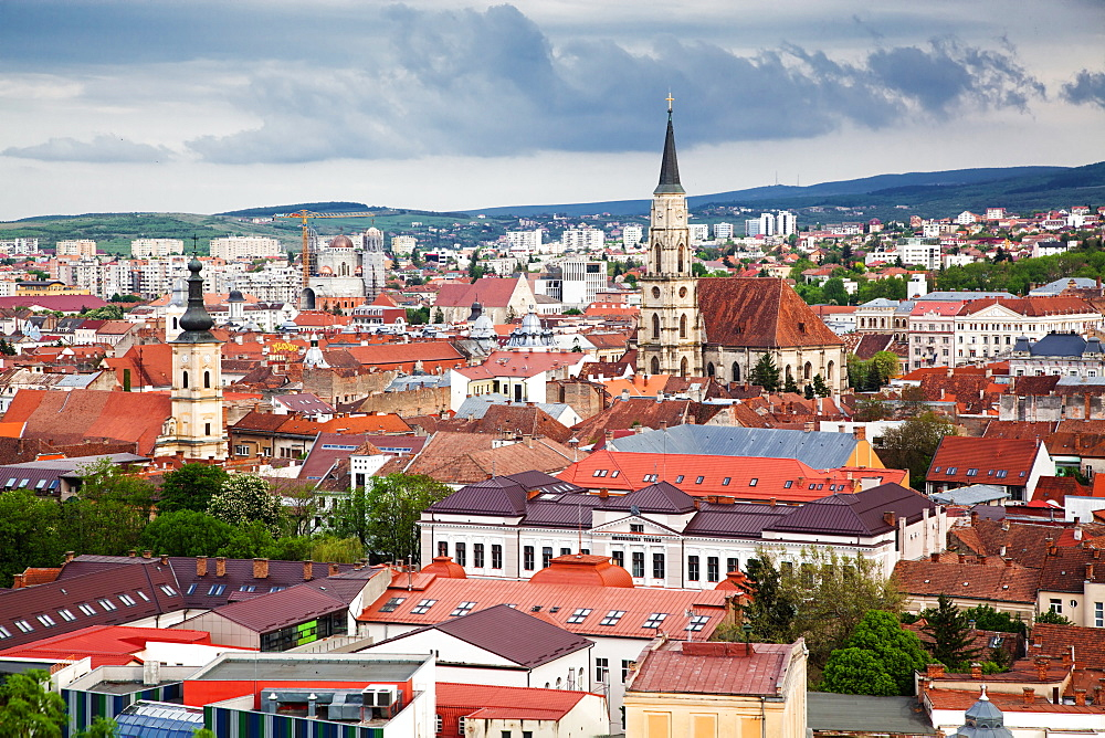 View on Cluj-Napoca from the Citadel Hill with Saint Michael's Church, Cluj-Napoca, Transylvania, Romania, Europe