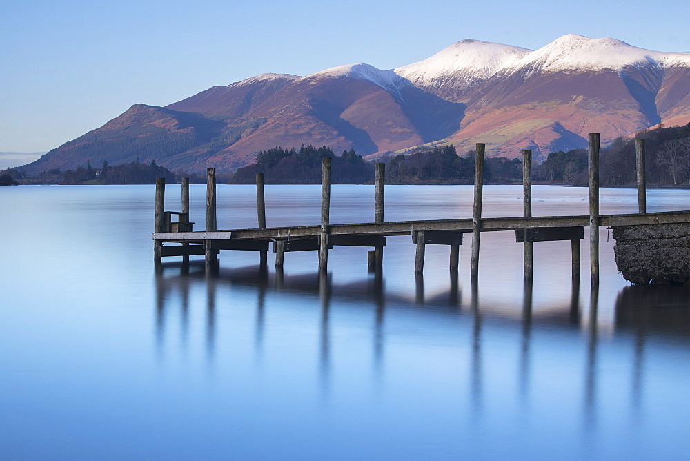 Snow capped Skiddaw and the Ashness pier on Derwentwater near Keswick, Lake District National Park, Cumbria, England, United Kingdom, Europe - 1266-1