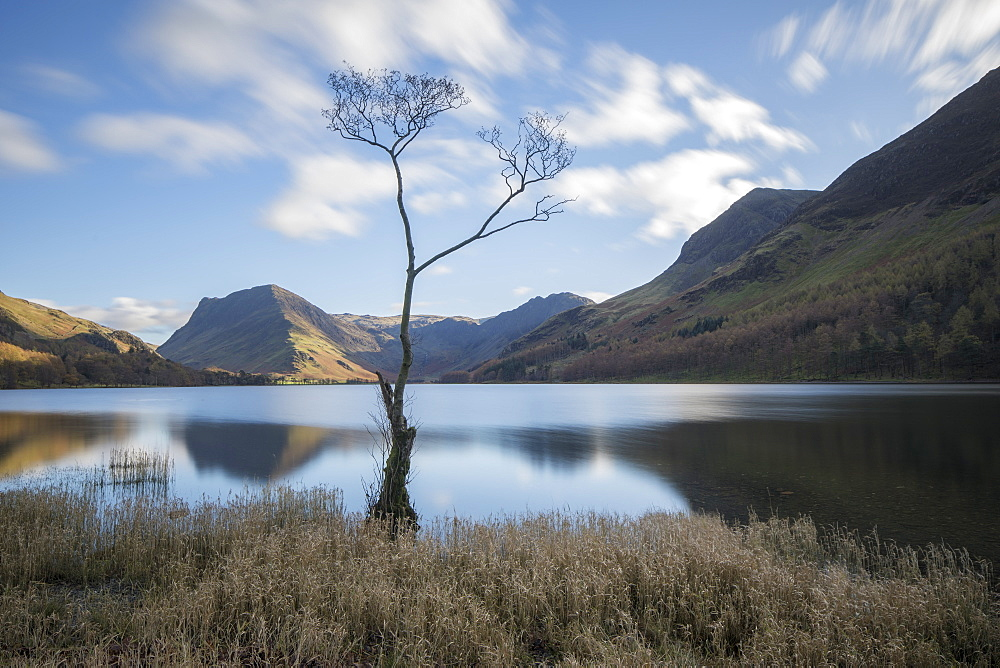 View over Buttermere to Fleetwith Pike in autumn, Lake District National Park, UNESCO World Heritage Site, Cumbria, England, United Kingdom, Europe - 1266-117