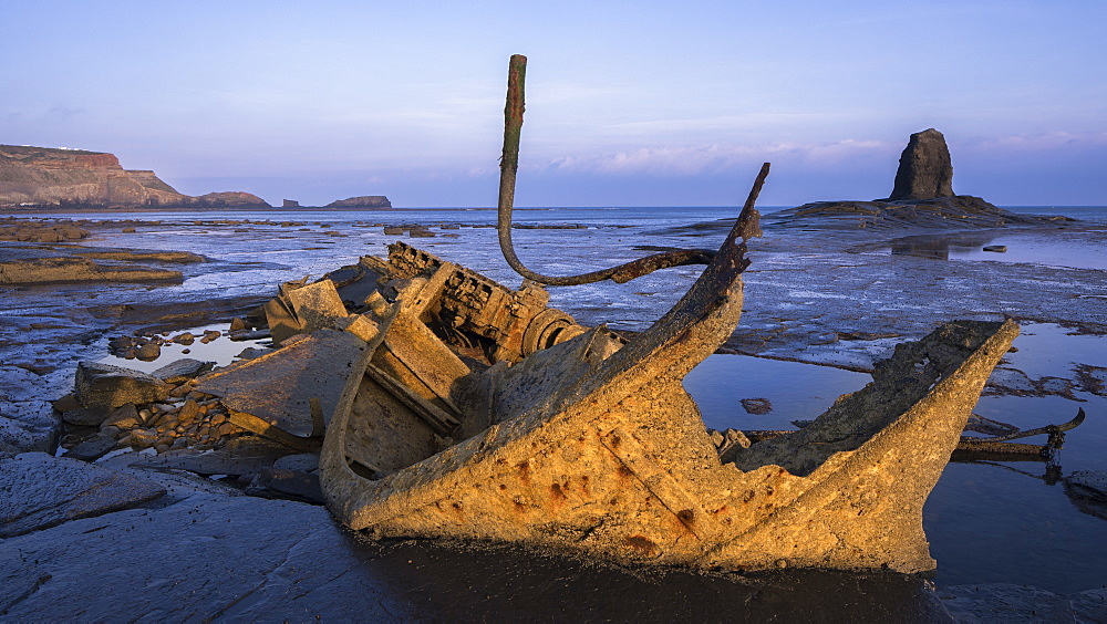 Wreckage and remains of the Admiral Van Tromp and Black Nab sea stack at Saltwick Bay, Whitby, North Yorkshire, Yorkshire, England, United Kingdom, Europe - 1266-127