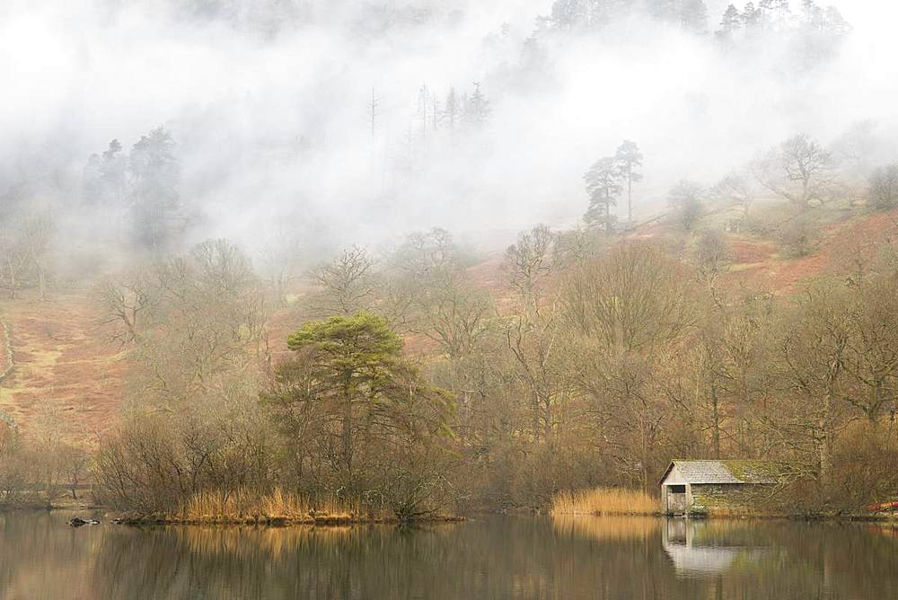 Low lying mist on the fells above Rydal Water in the Lake District National Park, UNESCO World Heritage Site, Cumbria, England, United Kingdom, Europe - 1266-129