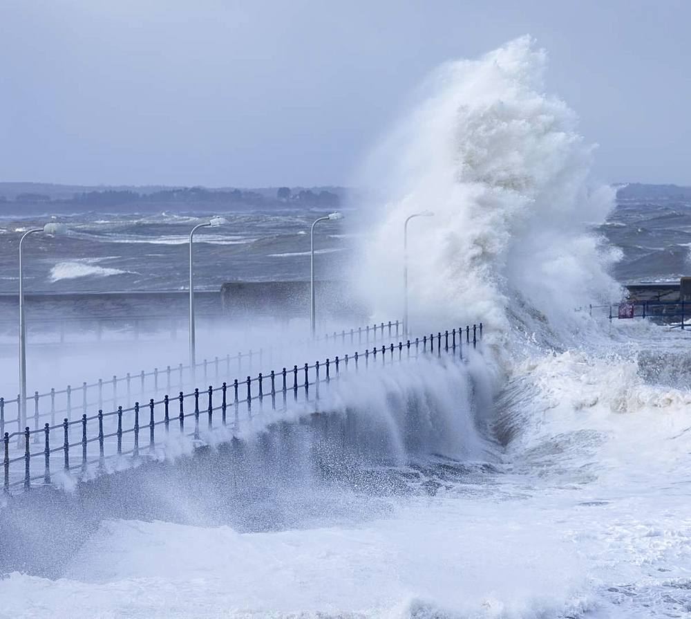 Stormy seas as spring tides coincide with the so called Beast from the East at Amble, Northumberland, England, United Kingdom, Europe - 1266-135
