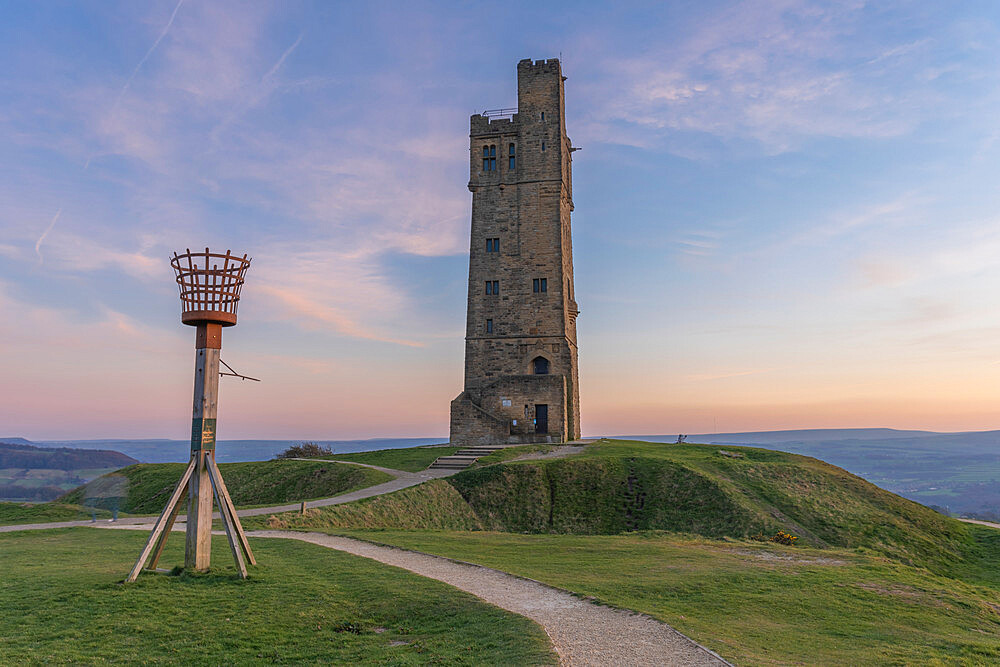 The Victoria or Jubilee Tower at sunset, Castle Hill near Almondbury, Huddersfield, West Yorkshire