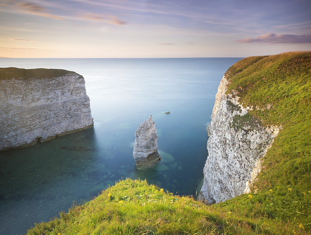 Chalk cliffs and clear blue sea at Breil Nook near the North Landing at Flamborough Head, Flamborough, East Yorkshire, Yorkshire, England, United Kingdom, Europe