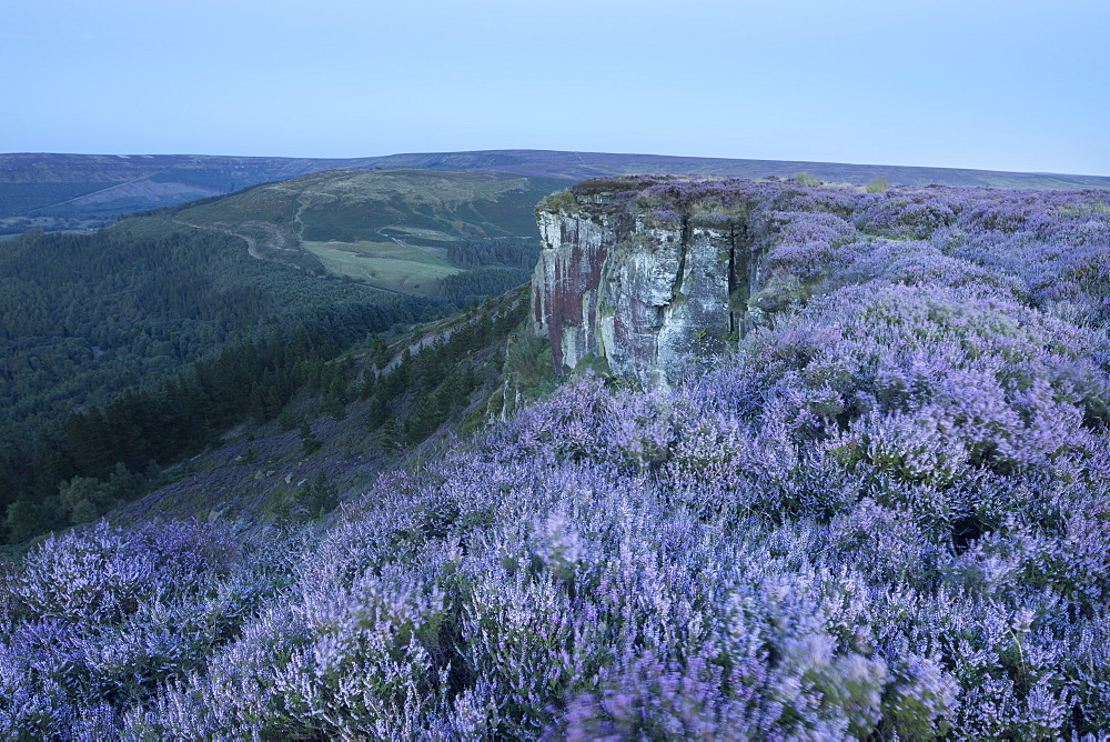 The rocky outcrop of Hasty Bank photographed in twilight. Hasty Bank, Cleveland Hills, North York Moors, North Yorkshire, England, United Kingdom, Europe