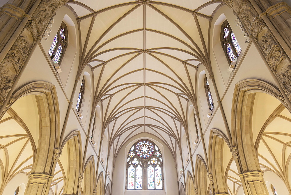 Vaulted ceiling archways and stained glass windows inside/interior of Letterkenny cathedral, county Donegal, Republic of Ireland - 1266-43