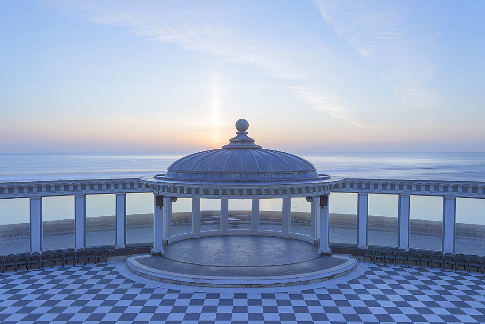 The Spa bandstand and view out to sea at sunrise, South Bay, Scarborough, North Yorkshire, Yorkshire, England, United Kingdom, Europe - 1266-5