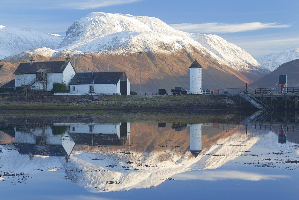 View towards the snow capped peak of Ben Nevis across Loch Linnhe from Corpach near Fort William, Lochaber, Highlands, Scotland, United Kingdom, Europe