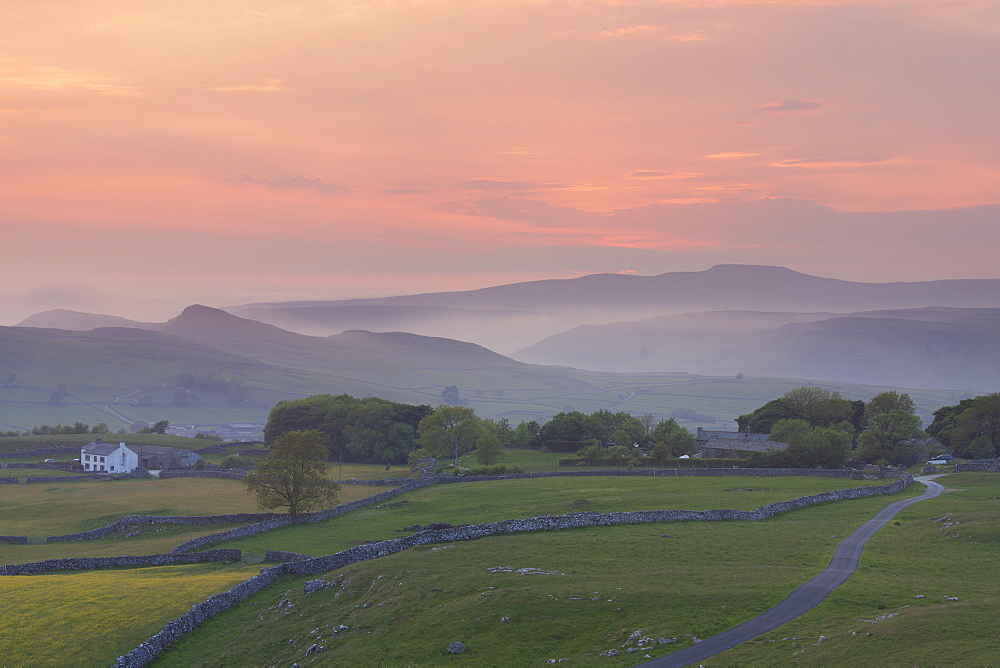 Ingleborough and Smearsett Scar from Winskill Stones Nature Reserve at sunset, Ribblesdale, Yorkshire Dales, Yorkshire, England, United Kingdom, Europe - 1266-68
