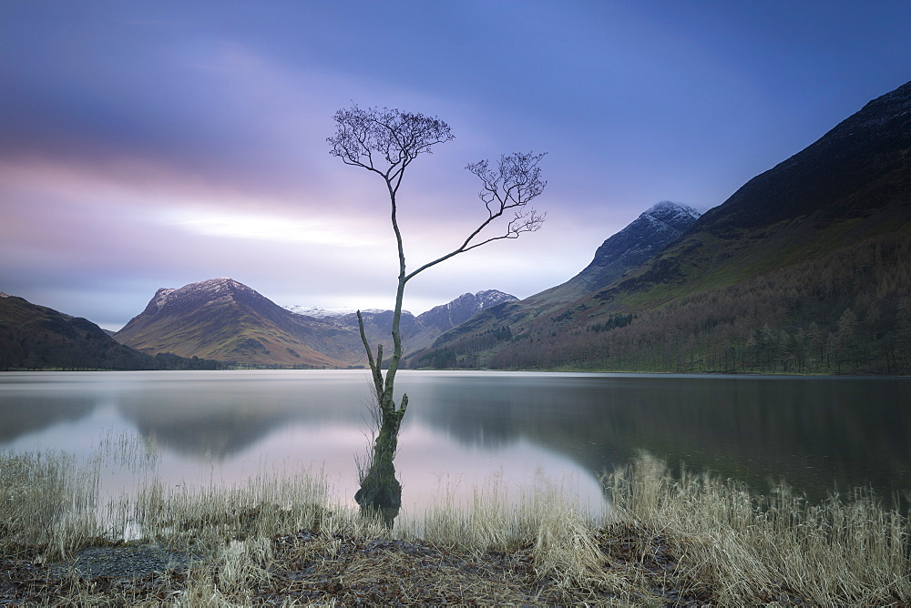 Long exposure image of view to Fleetwith Pike across Buttermere, Lake District National Park, UNESCO World Heritage Site, Cumbria, England, United Kingdom, Europe - 1266-79