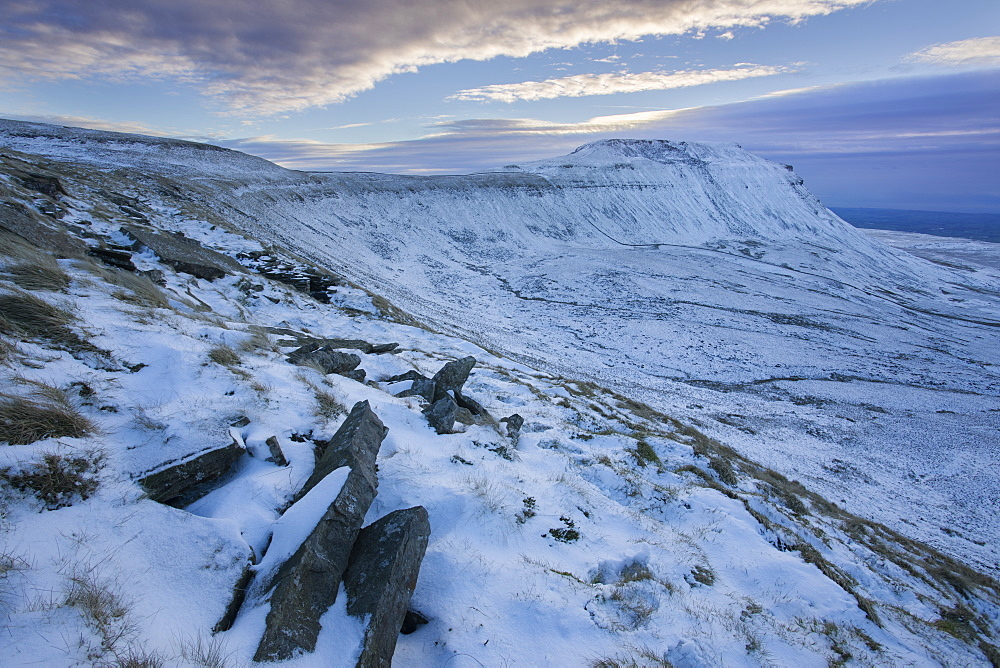 Snow covered Ingleborough Hill from Southerscales Fell, near Chapel-le-Dale, Yorkshire Dales National Park, North Yorkshire, Yorkshire, England, United Kingdom, Europe - 1266-82