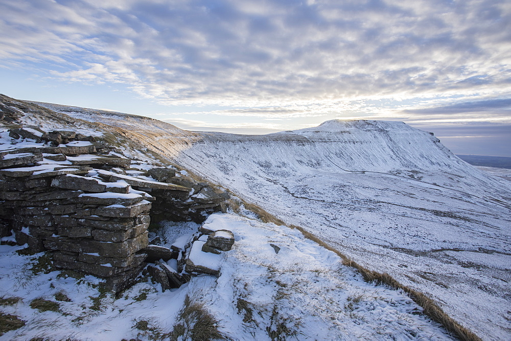 Snow covered Ingleborough Hill from Southerscales Fell, near Chapel-le-Dale, Yorkshire Dales National Park, North Yorkshire, Yorkshire, England, United Kingdom, Europe - 1266-83