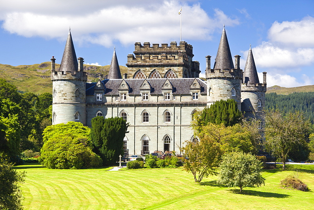 Inveraray Castle in summer sunshine at Inveraray, Argyll and Bute, Highlands, Scotland, United Kingdom, Europe - 1266-88