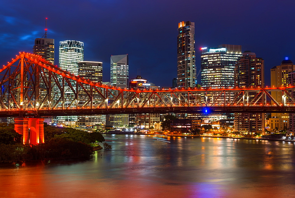 Story bridge and Brisbane city skyline after dark. Queensland. Australia.