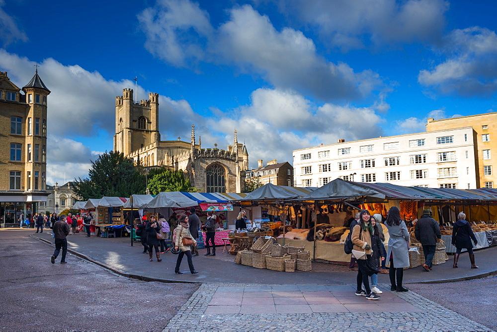 Market Square with Great St. Marys Church, Cambridge, Cambridgeshire, England, United Kingdom, Europe