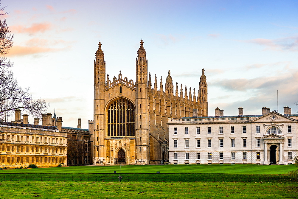 King College Chapel in late evening light, University of Cambridge, Cambridgeshire, England, United Kingdom, Europe