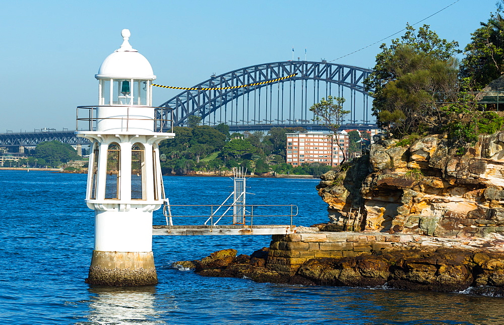 Cremorne Point Lighthouse with Harbour Bridge behind, Sydney, New South Wales, Australia, Pacific