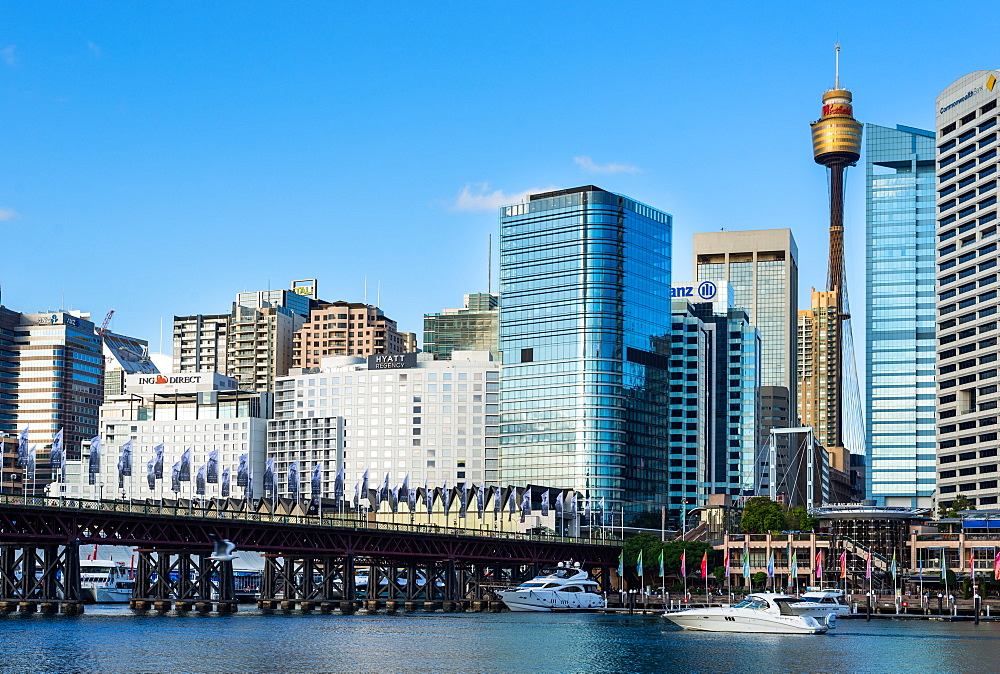 The Pyrmont Bridge and city skyline at Darling Harbour, Sydney, New South Wales, Australia, Pacific