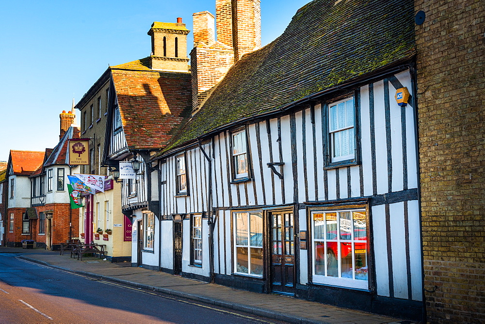 Half timbered building on High Street of Godmanchester in Cambridgeshire, England, United Kingdom, Europe