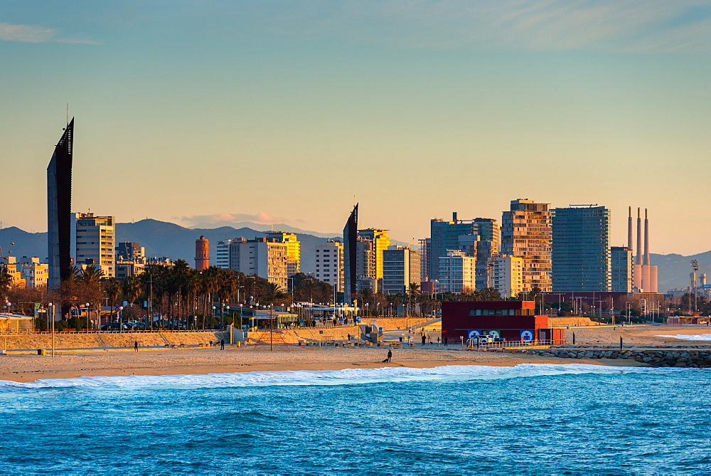 Barcelona waterfront skyline and beach seen from the sea. Catalonia, Spain. - 1267-169