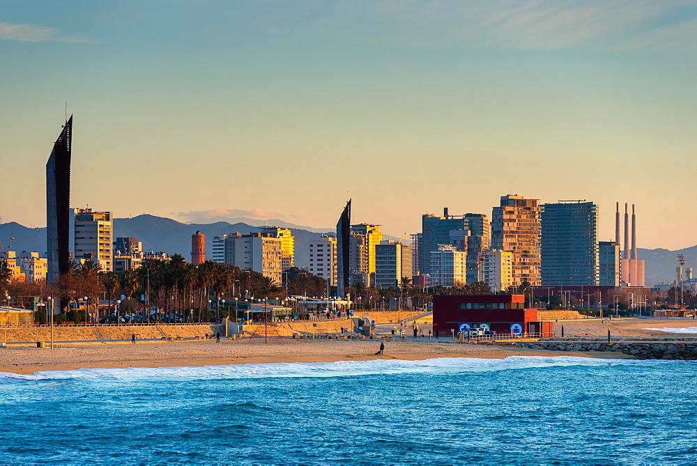 Barcelona waterfront skyline and beach seen from the sea, Barcelona, Catalonia, Spain, Europe