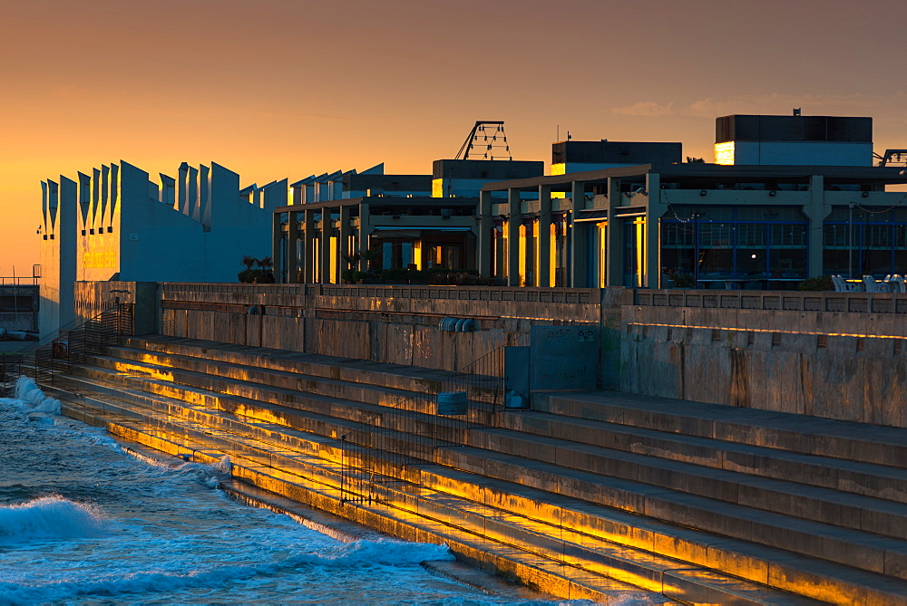 Centre Municipal de Vela at sunrise, Port Olimpic, Barcelona, Catalonia, Spain, Europe