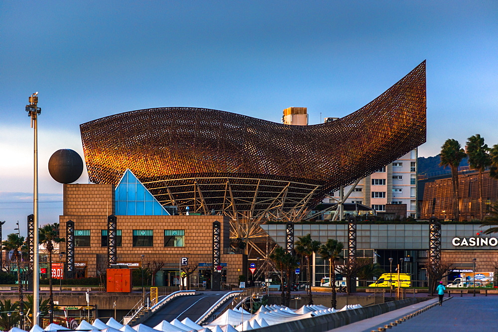 Frank Gehry Fish sculpture at the beach next to the Casino in Barcelona, Catalonia, Spain, Europe
