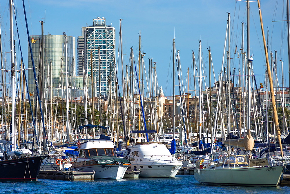 Sailing boats on Barcelona Marina at Port Vell, Barcelona, Catalonia, Spain, Europe