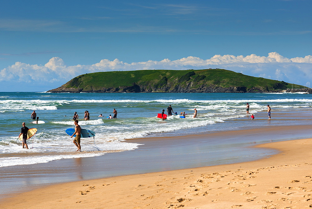 Parks beach in Coffs Harbour with Muttonbird Island, New South Wales, Australia.